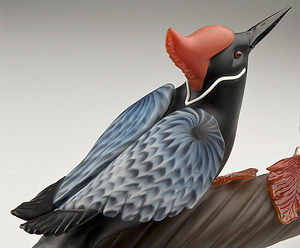 "Woodpecker ""Thirst for Song"" Detail — Hand Sculpted Glass, Molly Stone"