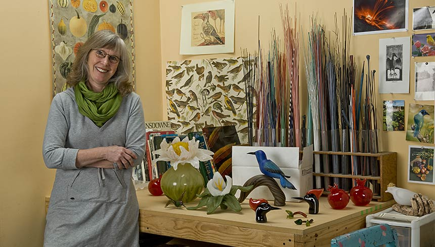 Glass artists Molly Stone in her studio at Cohn-Stone Studios