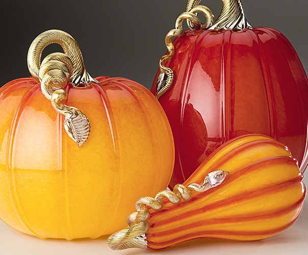 Ruby & Gold Collection of glass pumpkins and squash