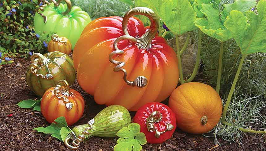 Hand blown glass pumpkins on display in our Glass Pumpkin Patch.